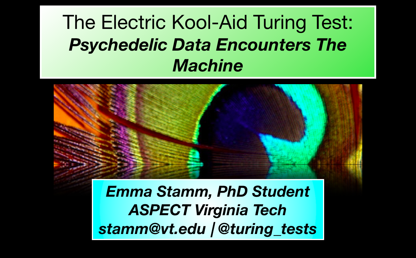 """""""The Electric Kool Aid Turing Test"""" introductory slide"""