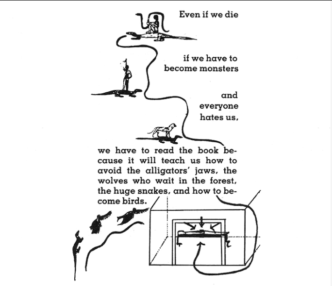 Illustration from Kathy Acker novel Blood and Guts In High School